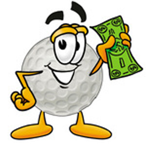 Royalty-free cartoon styled clip art graphic of a golf ball character