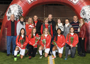 Girls' Soccer Seniors with Parents