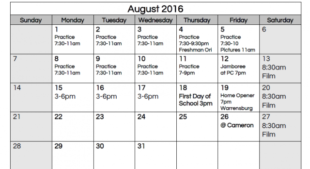 Preseason Practice Schedule Released