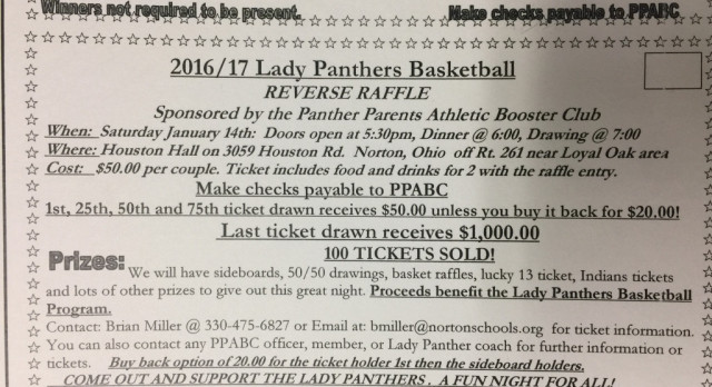 LADY PANTHERS TO HOST REVERSE RAFFLE JANUARY 14 at 530pm at HOUSTON HALL  click here to view article