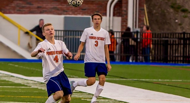 Powers Catholic High School Boys Varsity Soccer falls to Midland Dow H.S. 3-1