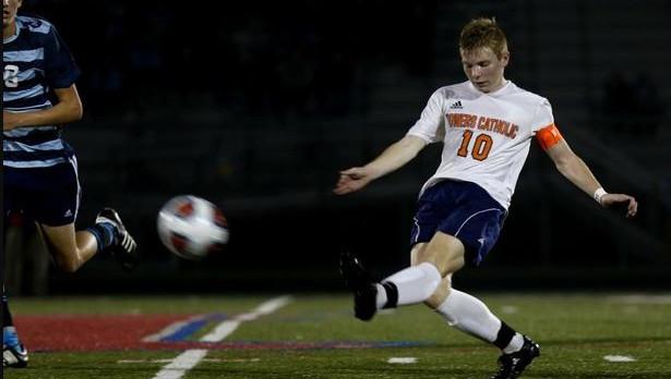 Powers Catholic High School Boys Varsity Soccer beat Grand Rapids Catholic Central High School 2-0