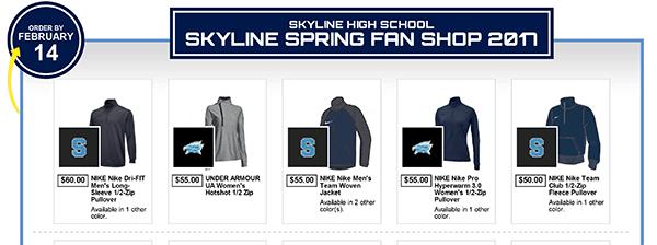 Skyline Eagles Spring Fan Shop is Open!
