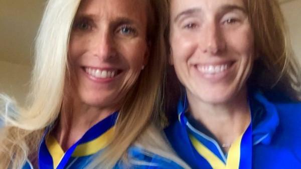 Christine Stead and Melissa Sunderman after 2017 Boston Marathon