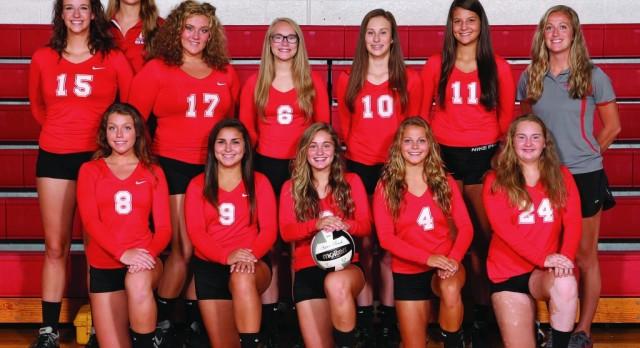 Red Devil Varsity Volleyball beat Mogadore High School 3-0
