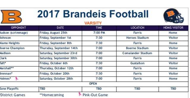 2017 Broncos Fall Football Schedule