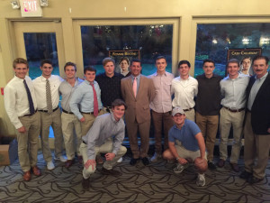 Senior players and coaches celebrate 2017 at End-of-Season Banquet.