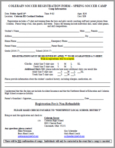 Spring Soccer Camp Registration Form - CHS 2017 (Snip)