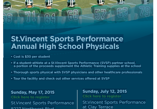 SVSP Physicals: Sunday, July 12th 3-6PM at Clay Terrace