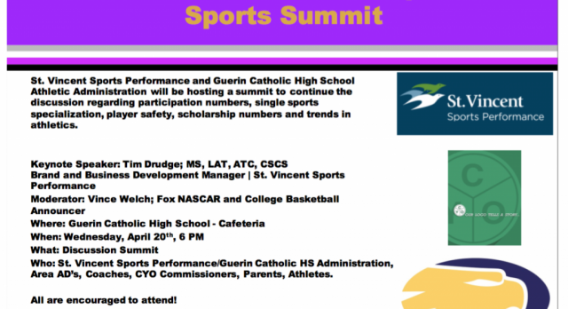 Guerin Catholic and SVSP Hosts Athletic Summit on 4-20, 6PM, Cafe
