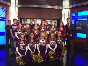 Cheerleaders, Band & Anchors on set - WISH TV 2016