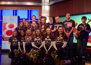 Cheerleaders with Noblesville Band - WISH TV 2016