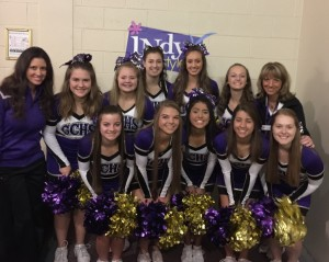 Cheerleaders with Coaches before performance - WISH TV 2016