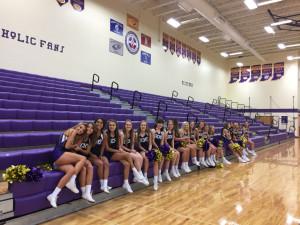 Cheerleaders watching dodgeball