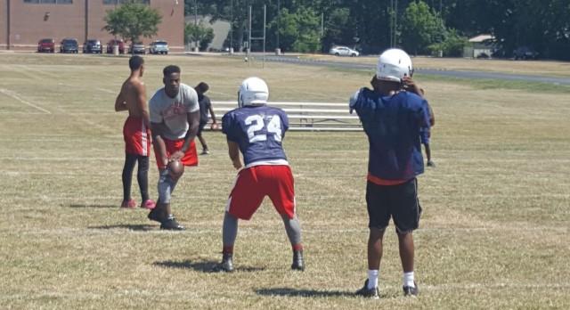 Berry visits freshmen practice