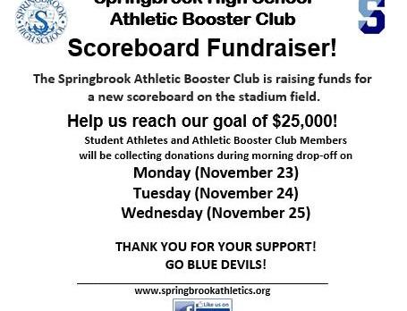 Scoreboard donations during parent drop-off!