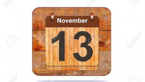 Calendar with the date of November 13.