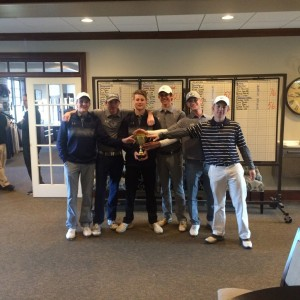 The Boys Golf Team claims the 2nd Place Trophy for the 2016 Coal Mountain Classic.