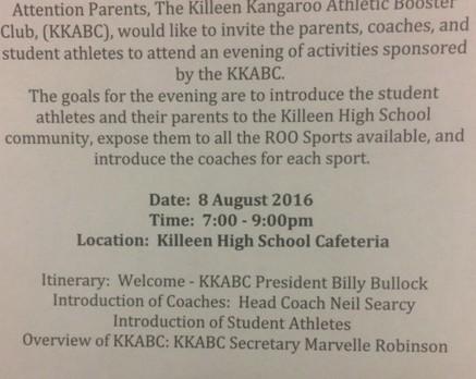 Killeen Kangaroo Athletic Booster Club