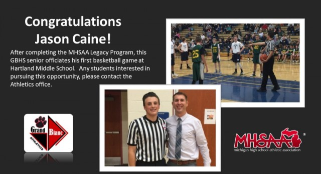 GBHS Senior Officiates Basketball Game
