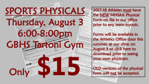 Physicals Clinic Aug. 3
