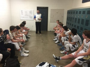 After the Win! Coach Dirks reviews the game.