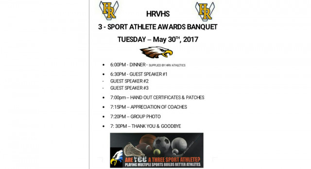 HRVHS 3-Sport Athlete Banquet – Tuesday, May 30th