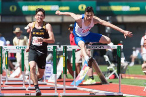 Kobie Mendoza Daniels place 7th in the High Hurdles
