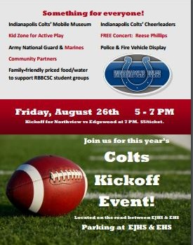 Colts Kick Off Event and EHS Senior Night Friday, August 26