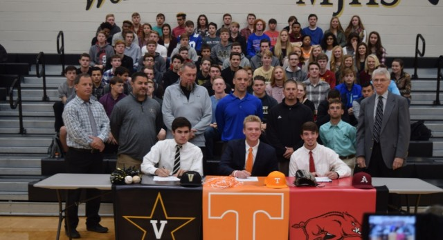 Three Baseball Players Sign Scholarship Papers