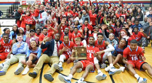VASJ BOYS BASKETBALL – Vikings thunder into state championship game with 73-50 win over Fairland