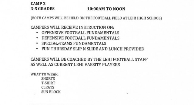 Lehi Youth Football Camp June 5-8