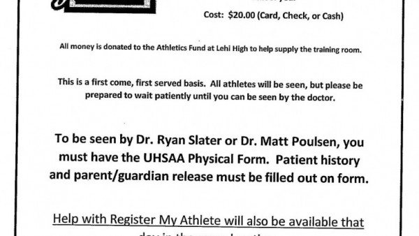Sports Physicals For Lehi Athletes: May 31 - This Is The Home Of