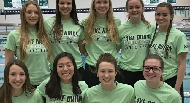 LO girls' swim/dive team earns fourth consecutive top ten finish at the MHSAA D1 championships