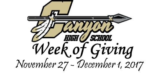 Week of Giving ~ Nov 27 through Dec 1