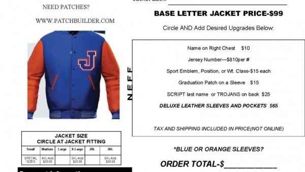 neff jackets will be in the cafeteria during all three lunch periods on january 19th to take orders for letterman jackets they will also fit your child so