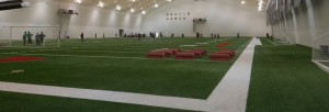 An indoor tension fabric athletic facility.