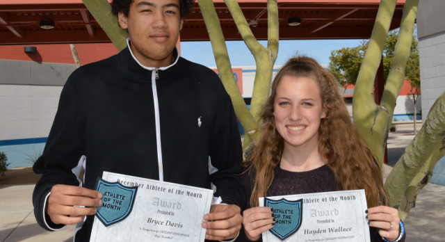 Congratulations Bryce Davis and Hayden Wallace – December Athletes of the Month!