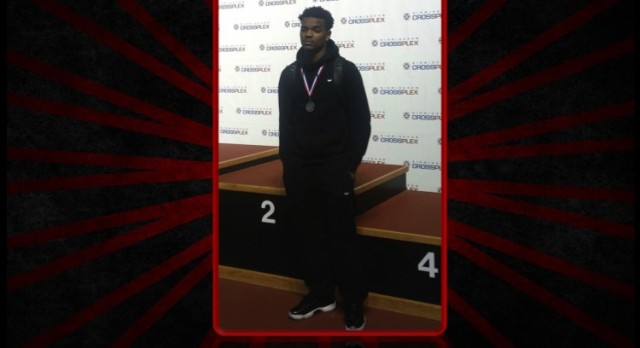 "Damon Williams brings home the ""BLING"" from Indoor Track Meet"