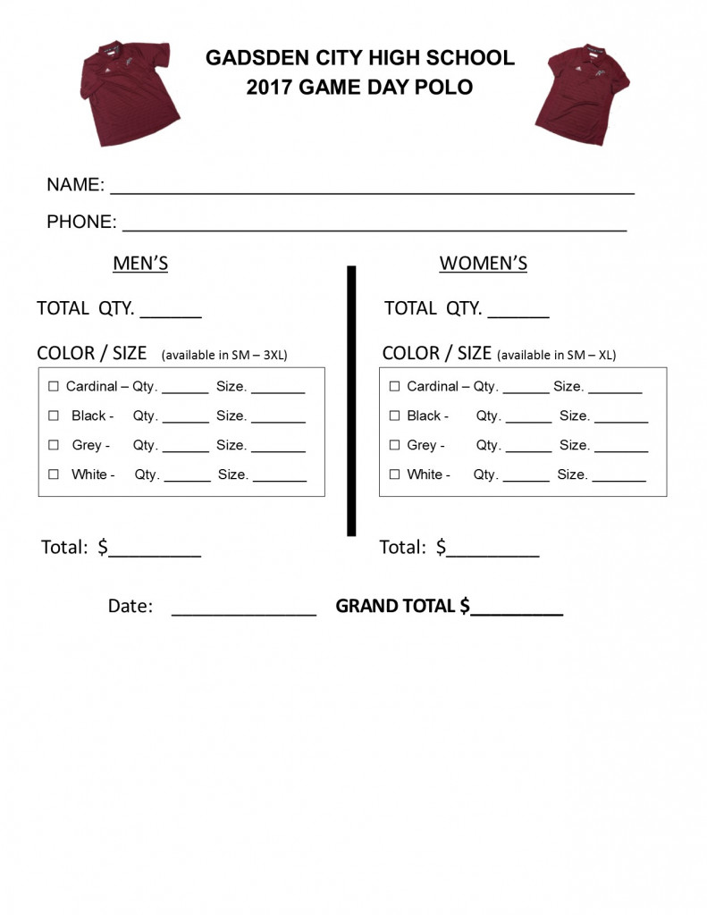 Game order colors - Game Day Order Form