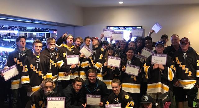 Reese Hunt and Palmer Hockey Invited to Avalanche Fight Cancer Night