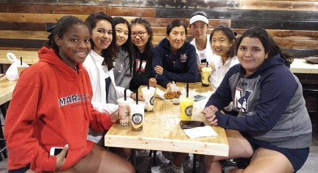 Maranatha High School Girls Varsity Tennis falls to Mark Keppel High School 9-9 (76-77)
