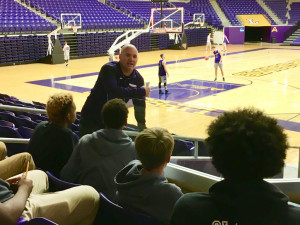 Coach Casey Alexander speaking to the team