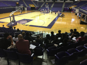 EH boys basketball watches Lipscomb Univ. practice