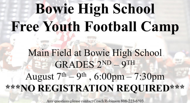 Bowie High School Free Youth Football Camp