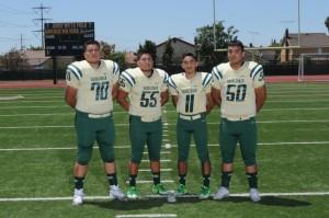 Varsity Captains: #70 Jose Frias #55 David Pedroza # 11 Jacob Jimenez #50 Joel Martinez