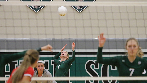 De Soto High School Girls Varsity Volleyball beat Ottawa High School 3-0