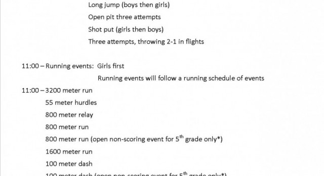 Schedule for the MS Trojan Track Invitational