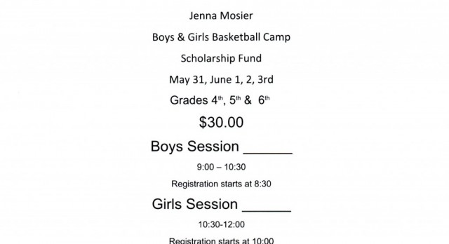 Jenna Mosier Scholarship Fund / Elementary Basketball Camp