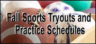 Fall Sports Tryout Schedule